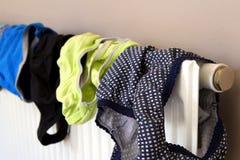 Underkläderuttorkning på ett inhemskt element, når tvätt royaltyfri bild