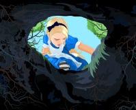 Underland Alice stock illustrationer