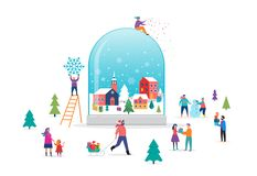Underlandplats för glad jul, vinteri ett snöjordklot med litet folk, unga män och kvinnor, familjer som har gyckel in royaltyfri illustrationer