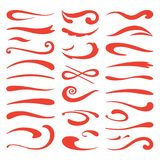 Underline swooshes. Swish brush emphasis, hand drawn marker stroke, doodle swash highlight. Vector font and lettering. Accent set royalty free illustration