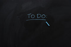 Underlined to do note drawn with chalk Stock Image