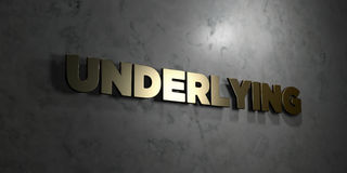 Underlying - Gold text on black background - 3D rendered royalty free stock picture Royalty Free Stock Photo