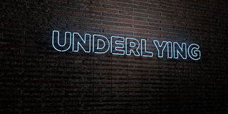 UNDERLYING -Realistic Neon Sign on Brick Wall background - 3D rendered royalty free stock image Royalty Free Stock Photo