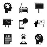 Underlying reason icons set, outline style