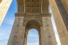 Underneath the Arc de Triomphe Stock Images