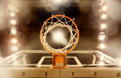 Underneath a Basketball basket. A view from underneath a basketball basket at a professional basketball arena Stock Image