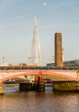 Underneath Blackfriars Bridge in London with boat Royalty Free Stock Images