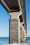 Underneath the bridge. Underneath the Oland Bridge in the Baltic Sea. The bridge is connecting the island Oland with mainland Sweden Stock Photos