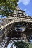 Underneath Eiffel Tower Paris France. The Eiffel Tower with bleu sky and white clouds Paris France stock photography