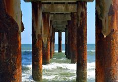 Underneath The Fishing Pier royalty free stock photo