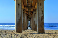 Underneath the Pier on Golden Mile Beach, Durban, South Africa. A view directly underneath a pier on the Golden Mile Beach in Durban, South Africa royalty free stock photography