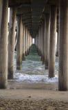 Underneath a pier. At huntington beach, california stock photography