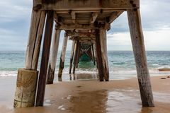 Underneath the Port Noarlunga Jetty located in South Australia o. N the 23rd August 2018 royalty free stock images