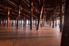 Underneath Santa Monica Pier Royalty Free Stock Photos