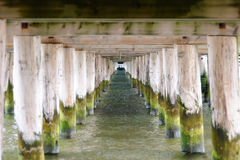 Underneath the Sopot pier. In Poland, the longest wooden pier in Europe stock image