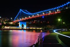 Underneath the Story Bridge Brisbane City at night red blue and white. The Story Bridge Brisbane City at night stock images