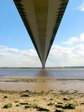 Underneath the suspension brid. Underneath view of the Humber suspension bridge stock images