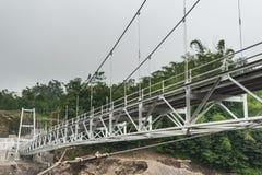 Underneath view of suspension bridge. Perspective view underneath of suspension bridge stock image