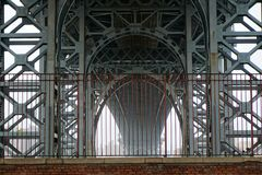 Underneath the Williamsburg Bridge on a Misty Day royalty free stock photo