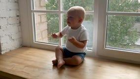 Underordnad sitter på ett brett fönster stock video