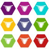 Underpants classic icons set 9 vector. Underpants classic icons 9 set coloful isolated on white for web Stock Image