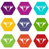 Underpants girl icons set 9 vector. Underpants girl icons 9 set coloful isolated on white for web Stock Photo