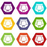 Underpants retro icons set 9 vector. Underpants retro icons 9 set coloful isolated on white for web Royalty Free Stock Images