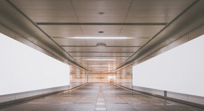 Underpass with blank billboard advertising wall Royalty Free Stock Images