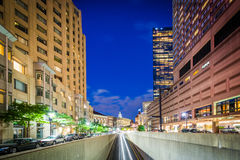 Underpass and buildings along Huntington Avenue at night, in Bac Stock Photo