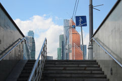 Underpass and business center Moscow-City. Moscow. Underpass and business center Moscow-City Stock Photos