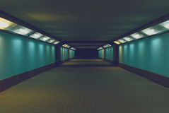 Underpass. Highlighted passage under the street at night Royalty Free Stock Photography