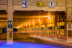 Underpass. Image of an underpass at night with light streaks from traffic Stock Photos