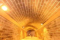 Underpass. It's a underpass,the wall and top are made up with many bricks Royalty Free Stock Image