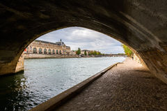 Underpass of a Seine Bridge in Paris royalty free stock photos