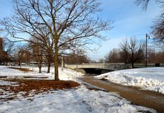 Underpass and Snow. This is a Winter picture of a pedestrian path and underpass in Lincoln Park in Chicago, Illinois.  This picture was taken on February 10 Stock Photo