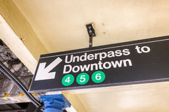 Underpass to Downtown sign in New York CIty subway Stock Images