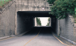 Underpass with trees and foliage in background Royalty Free Stock Images