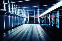 Underpass. Underground platform with multiple light sources stock image