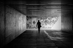 Underpass. A woman goes through an underpass in the city of Magdeburg Stock Photography