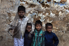 Underprivileged Children. January 30,2013 Jharia,Jharkhand,India,Asia-Children posing in their slum at the coalmine area of Jharia Stock Images