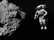 Undersökande asteroid för astronaut - 3D framför Royaltyfri Foto