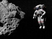 Undersökande asteroid för astronaut - 3D framför Fotografering för Bildbyråer