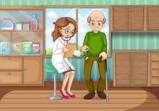 Undersökande gamal man för doktor i klinik royaltyfri illustrationer