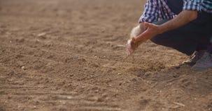 Undersökande jordkvalitet för bonde på nytt kultiverat fält arkivfilmer