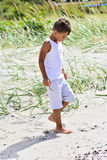 Undersökande strand för pojke Arkivfoto