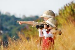 undersökande ungar Arkivbild