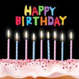 undersöker den blåa caken för födelsedagen den rosa vektorn Royaltyfri Fotografi
