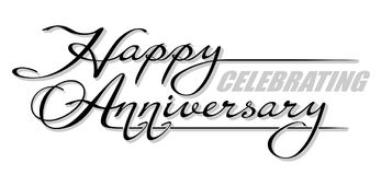 Underscore handwritten text `Happy Celebrating Anniversary` with shadow. Hand drawn calligraphy lettering Royalty Free Stock Photography