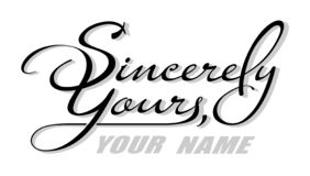 Underscore handwritten text Sincerely Yours with shadow. Hand drawn calligraphy lettering with copy space. Underscore handwritten text `Sincerely Yours` with vector illustration