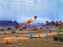 Undersea Adventure. Computer generated fantasy scene of a Mermaid, Seahorses and Orcas in the Ocean Royalty Free Stock Photos